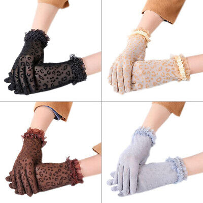 Women Girl Lace Flower Gloves Full Finger Sunproof Gloves Driving Gloves Mittens