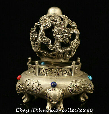 Collect Chinese old bronze inlay jewel carve dragon beast shilaiyunzhuan statue