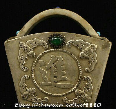 Collect Chinese old bronze inlay jewel carve Thriving business Dou wealth statue