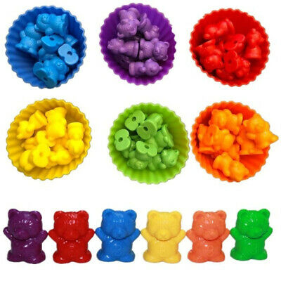 1Kit Counting Bears with Stacking Cups Montessori Rainbow Matching Game UK