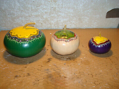 3 Hand Painted Hand Carved Gourds