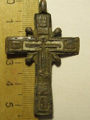 ANCIENT BRONZE CROSS RARE. RELIGIOUS ARTIFACT 18 CENTURY. 54х35 mm. № K70
