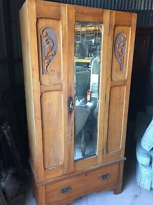 Antique Edwardian Single Wardrobe Armoire Carvings With KEY  23/3/J/LB