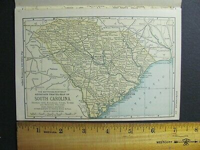 1893 SOUTH CAROLINA RAILROAD ATLAS MAP w/ INDEX of ALL RR LINES IN SC HISTORY