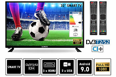 """Elements Fernseher LED Android Smart TV 32"""" Zoll Full HD DVB-T2/S2 2x Remote"""