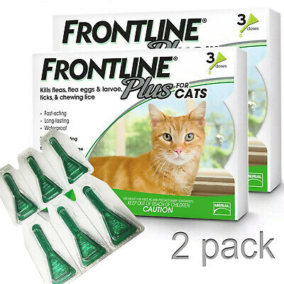 Frontline Plus Flea and Tick Control Treatment for Cats 6 Doses Free Shipping