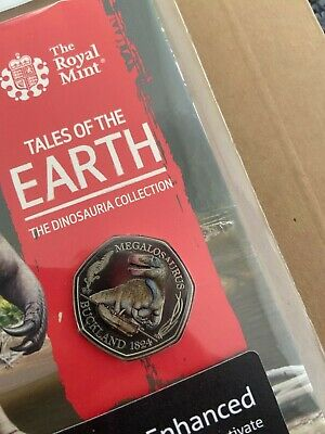 1st Dinosaur Megalosaurus 2020 50p Coin  struck by the Royal Mint. COLOR BU coin