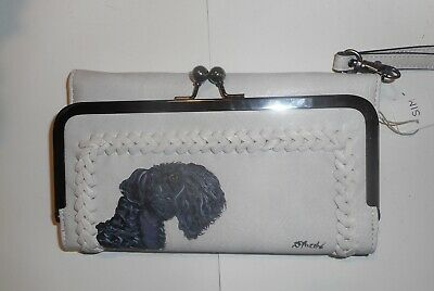Kerry blue Terrier Dog Hand Painted White Wallet for Women Wristlet Vegan