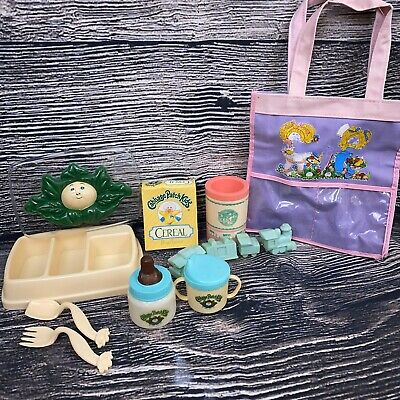 Vintage Cabbage Patch Kids Baby Doll Diaper Bag Feeding Set Food Jars Lot 80's