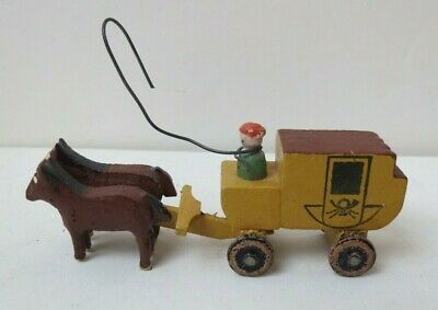 Vintage Miniature Hand Carved & Painted Horse Drawn Stage Coach German Republic