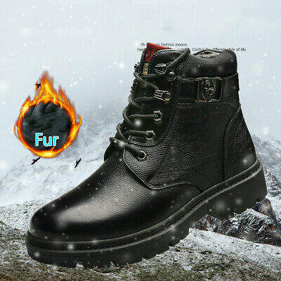 Men's Retro Velvet Martin Boots High-top Leather Casual Shoes Outdoor Snow Boots