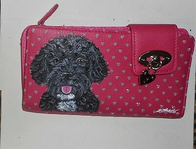 Portuguese Water Dog Hand Painted Pink Leather Wallet for Women Vegan
