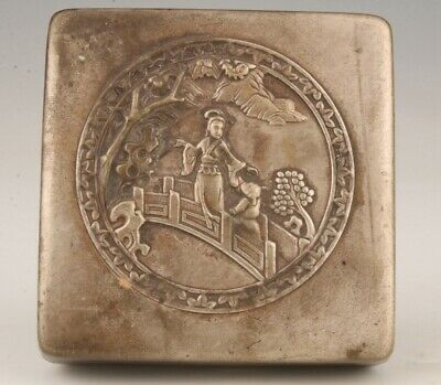 China Tibet Silver Hand-Carved Beauty Ink Box Study Collection Old