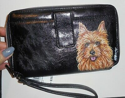 Australian Terrier dog Hand Painted Leather Wallet for Women Vegan Wristlet