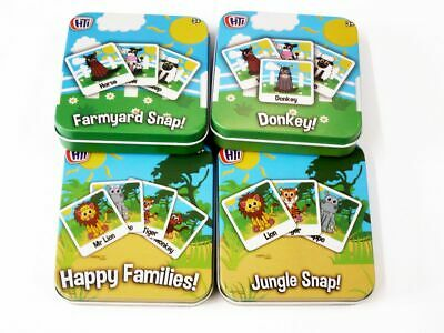 1 Colourful Children's Card Games in Tin. Snap Happy Families Donkey Jungle Farm