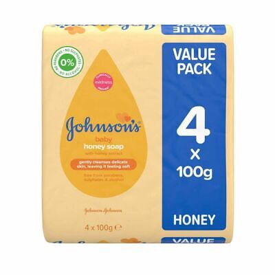 Johnson's Baby Honey Soap With Honey Extract 100g Pack Of 4 8 0% Alcohol UK