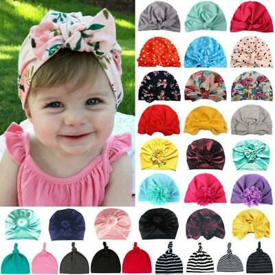 CN Toddler Baby Girls Kid Turban Knotted Bow Head Wrap Hat Headband India Caps