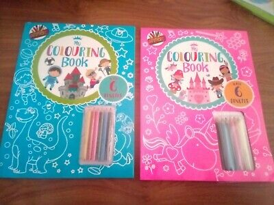 My First Learning To Colour Colouring Book + Pencils Kids Children Boys Girls