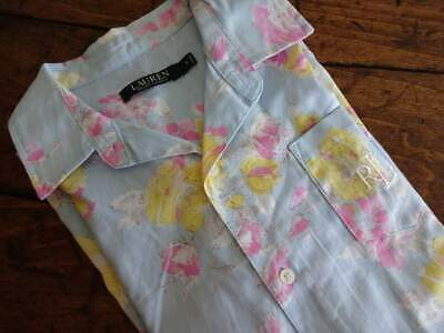 RALPH LAUREN Pink BLUE Yellow FLORAL Cotton WOMENS SMALL NIGHT Gown SHIRT