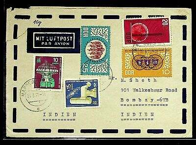 Germany 1970 Ddr 4Val On Airmail Cover To India