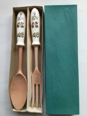 Salad Serving Fork & Spoon Set Kissing Don't Last Cookin Do Czech Tulips Vintage