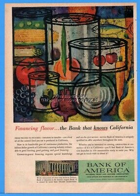 1958 Bank Of America California Canned Food A Gonzalez Art Financing Flavor Ad