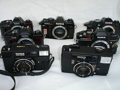 Lot of 9 vintage 35mm KONICA  film cameras. for parts / repair only