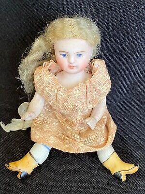 """Antique French All Bisque Doll 3 """" 1/2 Girl Yellow Boots"""