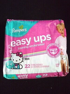 22 Pampers Easy Ups Disposable Potty Training Pants Girls Hello Kitty 3T-4T