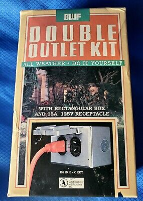 BWF Double Outlet Kit All Weather Outdoor Metal Outlet Box B81RK-GREY