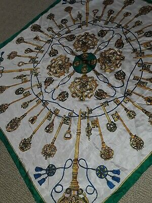 Vintage Laurie Samson Pure Silk 85cm Square Scarf Key Design Rolled Hem