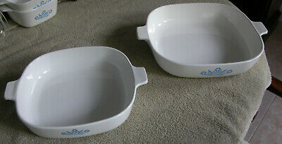 BLUE CORNFLOWER 8 and 10 IN CORNING WARE BAKING DISHES WITH HANDLES - NO LIDS