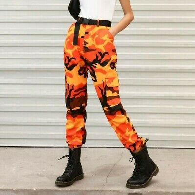 Women's Hiphop Military Overall Pants Casual Camouflage Outdoor Trousers ww00