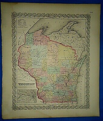 Vintage 1857 MAP ~ WISCONSIN ~ Old Antique Original Colton's Atlas Map
