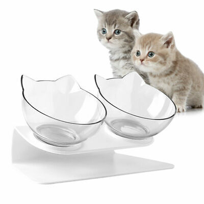 1 Pack Transparent Pet Double Cat Bowl with Raised Stand 15° Tilted Platform