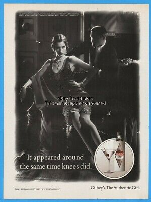 1992 Gilbeys Gin It Appeared Around The Same Time Knees Did FLAPPER DRESS Pic Ad