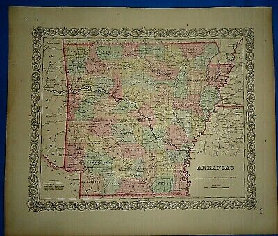 Vintage 1857 MAP ~ ARKANSAS ~ Old Antique Original Colton's Atlas Map