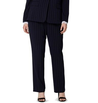 Tahari by ASL Womens Pants Blue Size 16W Plus Dress Pinstriped Stretch $89- 198