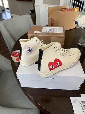 Converse Comme Des Garcons Play Chuck Taylor All Star High White Size 10 In Hand