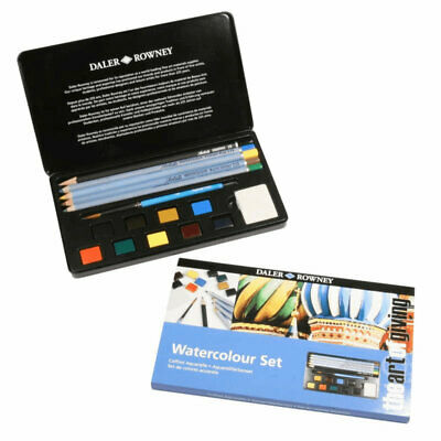 Daler Rowney 16 Piece Mixed Media Watercolour Artist Set - Paint/Pencils