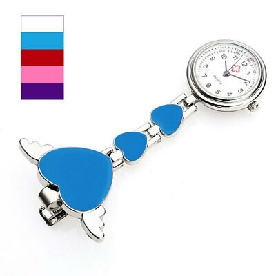 Stainless Steel Nurse Watch Brooch Tunic Quartz Fob Pocket Watches Heart Pendant