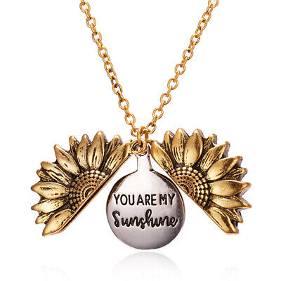 Women Gold Letter Carved Sunflower Necklace Open Locket Pendant Necklace Gifts