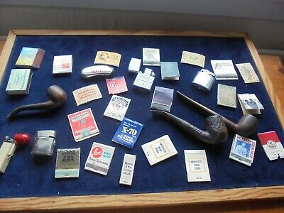 Clear Out Job Lot Of Pipes, Lighters, Cigarette Matchbook Covers Labels Etc 608K
