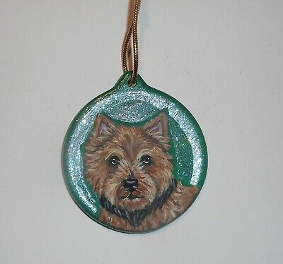 Norwich Terrier Dog Hand Painted Christmas Ornament Decoration