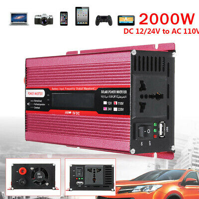 Solar Power Inverter 5000W LED 12V/24V DC to 110V/220V AC Sine Wave Converter US