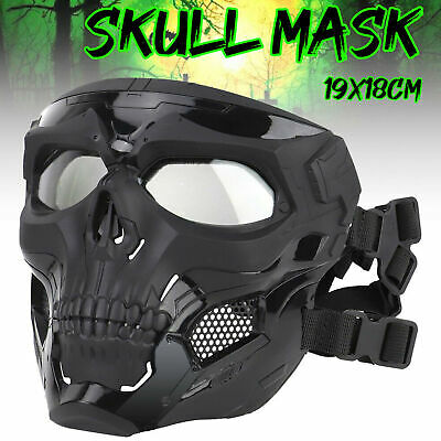 Skull Tactical Airsoft Mask Paintball CS Full Face Protective Helmet w/Goggles