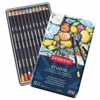 Derwent - Studio Professional Artist's Drawing Pencils - Set of 12 in Metal Tin