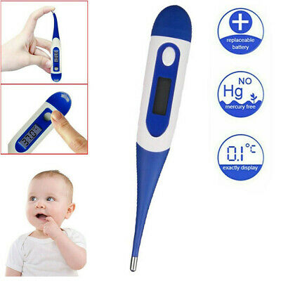 Flexible Tip Digital LCD Thermometer Kids Adult Baby Safe Ear Mouth Temperature