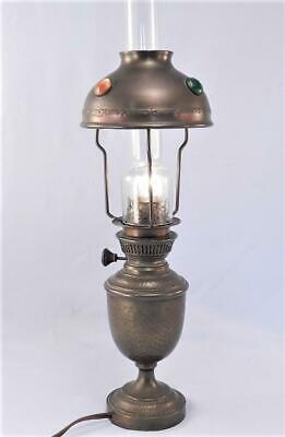 Antique Hammered Copper Jeweled German Secessionist~Arts & Crafts Oil Lamp~VGC
