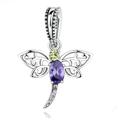 Dragonfly European Crystal Charm Silver Spacer Beads Fit Necklace Bracelet DIY
